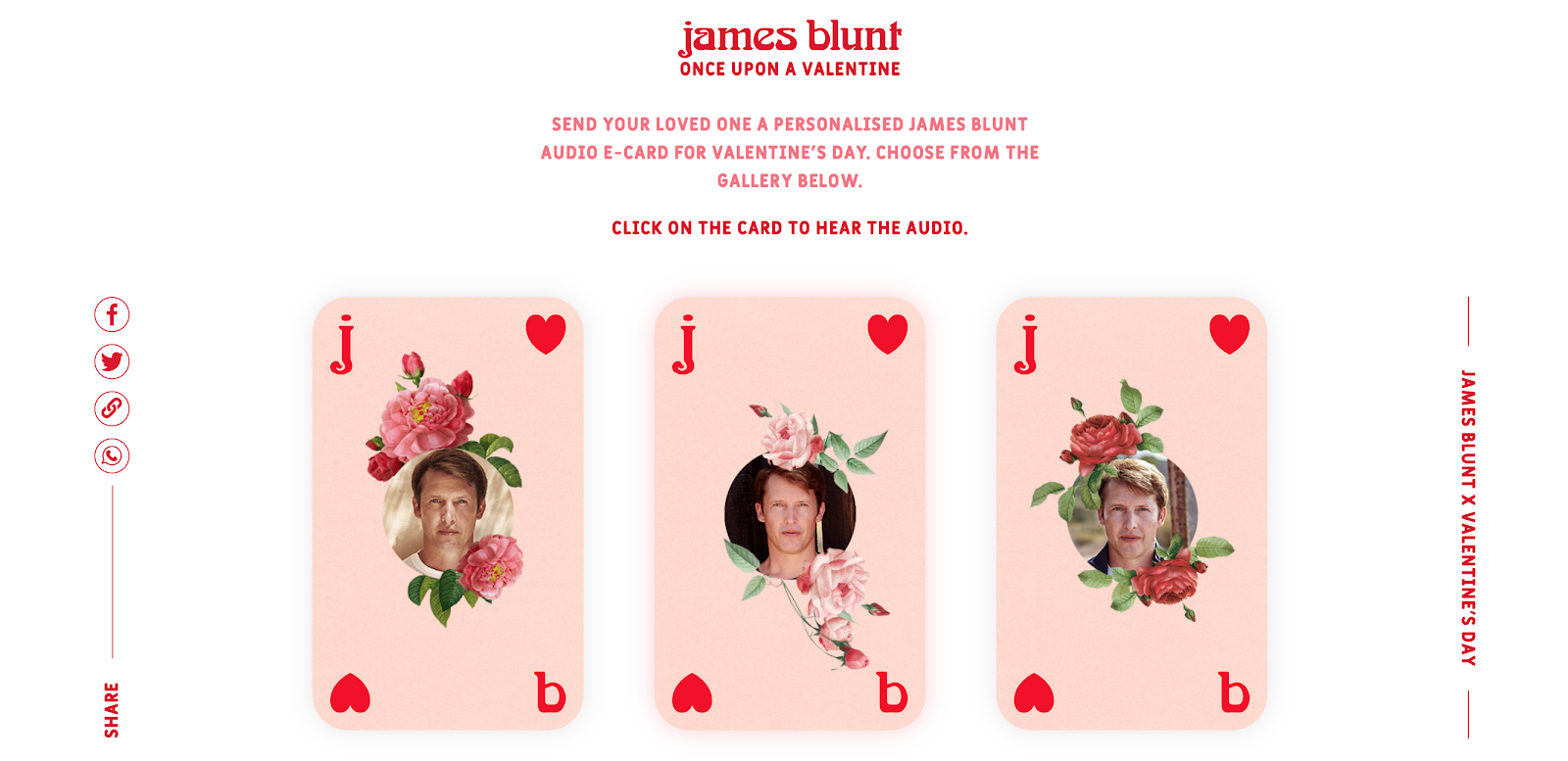 James Blunt Once Upon a Valentine Landing Page